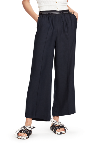 Scotch and Soda Wide Leg Trouser,blue.
