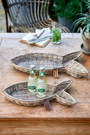 Bakke - Rustic Rattan Fish Serving Tray S/2